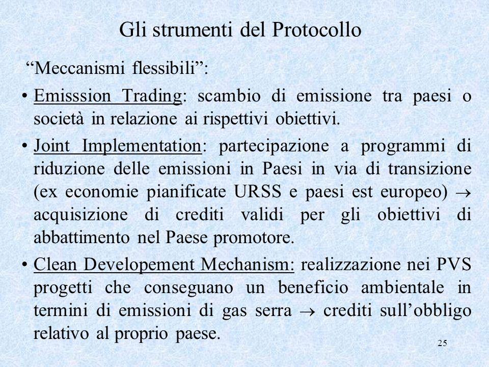 25 Gli strumenti del Protocollo Meccanismi flessibili: Emisssion Trading: scambio di emissione tra paesi o società in relazione ai rispettivi obiettiv