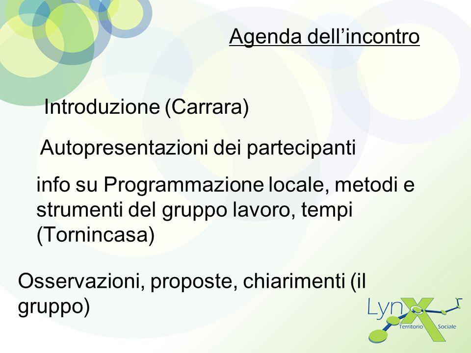 Agenda dellincontro Introduzione (Carrara) Autopresentazioni dei partecipanti info su Programmazione locale, metodi e strumenti del gruppo lavoro, tem