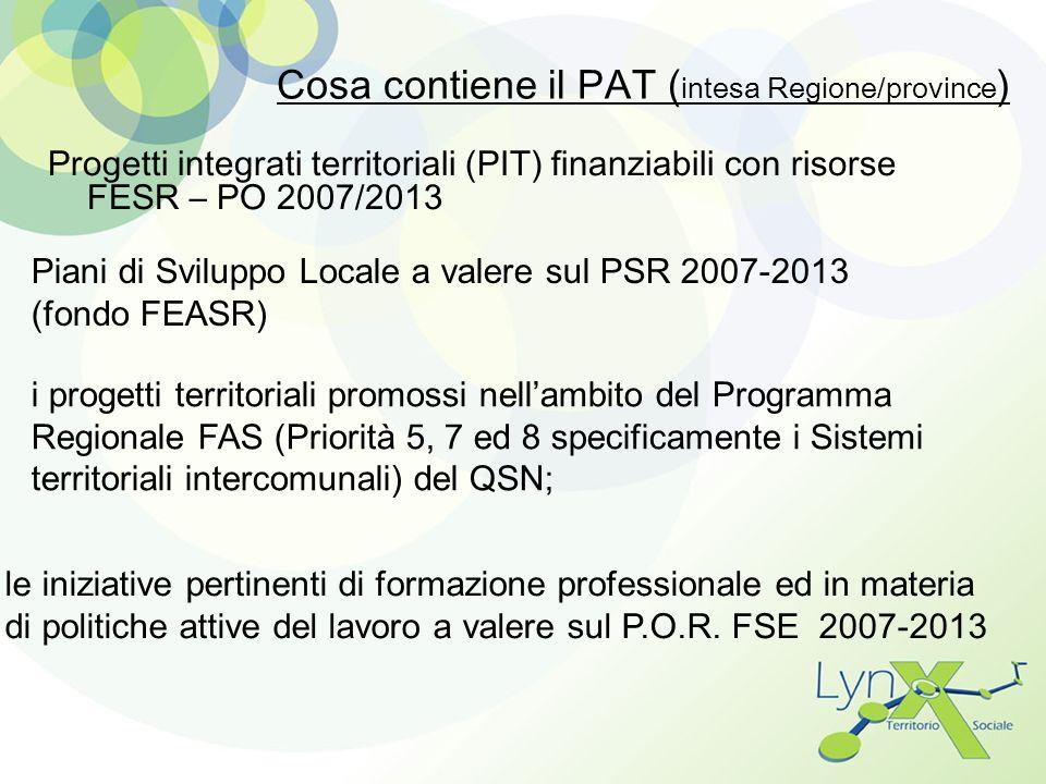 Cosa contiene il PAT ( intesa Regione/province ) Progetti integrati territoriali (PIT) finanziabili con risorse FESR – PO 2007/2013 Piani di Sviluppo