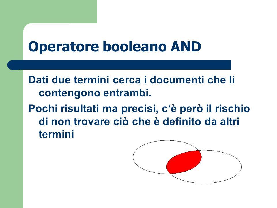 Operatore booleano OR …cerca i documenti che contengono tutti i termini di ricerca ma non necessariamente insieme.
