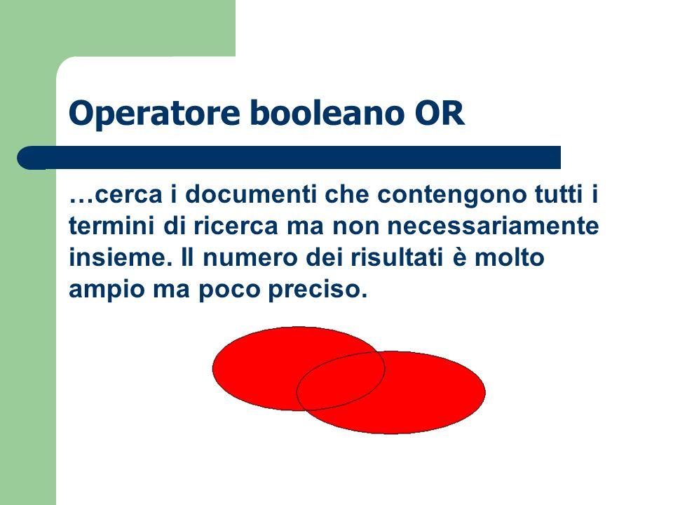 Operatore booleano OR …cerca i documenti che contengono tutti i termini di ricerca ma non necessariamente insieme. Il numero dei risultati è molto amp