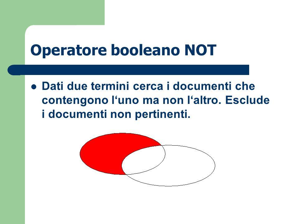 Operatore booleano NOT Dati due termini cerca i documenti che contengono luno ma non laltro. Esclude i documenti non pertinenti.