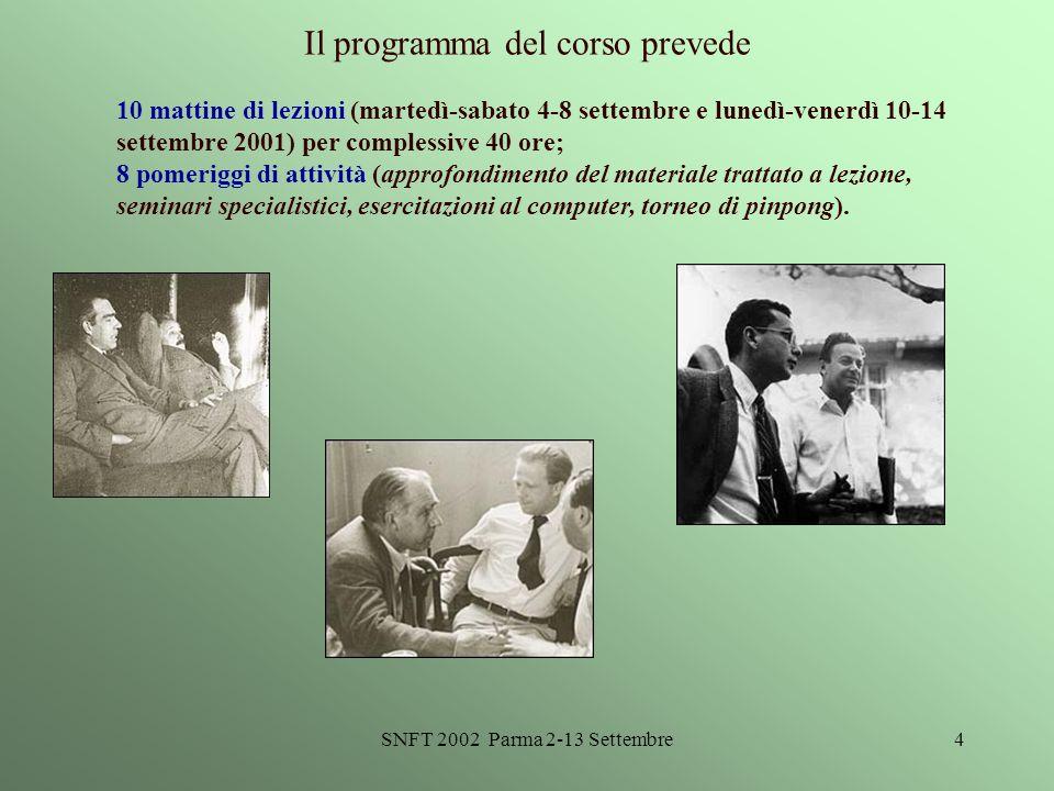 SNFT 2002 Parma 2-13 Settembre4 Il programma del corso prevede 10 mattine di lezioni (martedì-sabato 4-8 settembre e lunedì-venerdì 10-14 settembre 20