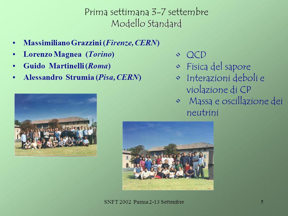 SNFT 2002 Parma 2-13 Settembre5 Modello Standard Prima settimana 3-7 settembre Modello Standard Massimiliano Grazzini (Firenze, CERN) Lorenzo Magnea (