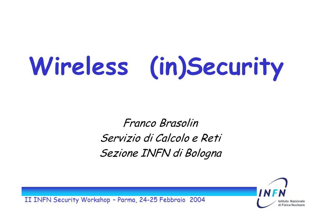 II INFN Security Workshop – Parma, 24-25 Febbraio 2004 Wireless (in)Security Franco Brasolin Servizio di Calcolo e Reti Sezione INFN di Bologna