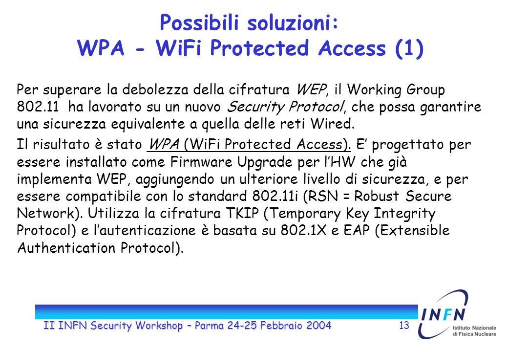 II INFN Security Workshop – Parma 24-25 Febbraio 200413 Possibili soluzioni: WPA - WiFi Protected Access (1) Per superare la debolezza della cifratura WEP, il Working Group 802.11 ha lavorato su un nuovo Security Protocol, che possa garantire una sicurezza equivalente a quella delle reti Wired.