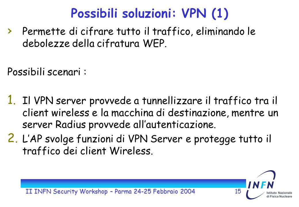 II INFN Security Workshop – Parma 24-25 Febbraio 200415 Possibili soluzioni: VPN (1) Permette di cifrare tutto il traffico, eliminando le debolezze della cifratura WEP.