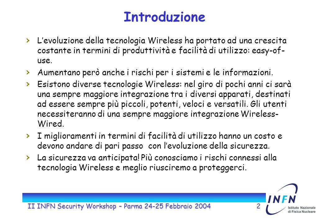 II INFN Security Workshop – Parma 24-25 Febbraio 20042 Introduzione Levoluzione della tecnologia Wireless ha portato ad una crescita costante in termini di produttività e facilità di utilizzo: easy-of- use.