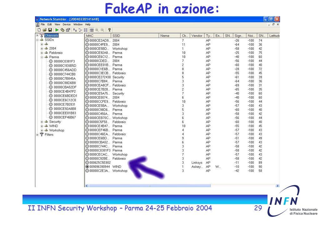 II INFN Security Workshop – Parma 24-25 Febbraio 200429 FakeAP in azione: