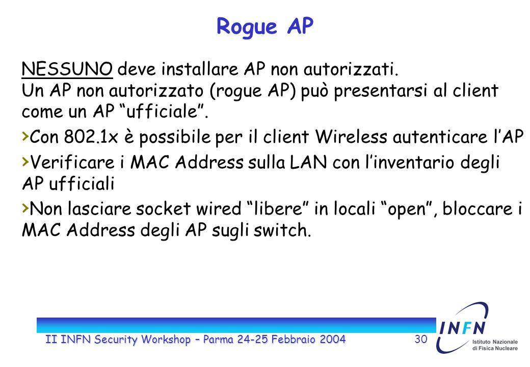 II INFN Security Workshop – Parma 24-25 Febbraio 200430 Rogue AP NESSUNO deve installare AP non autorizzati. Un AP non autorizzato (rogue AP) può pres