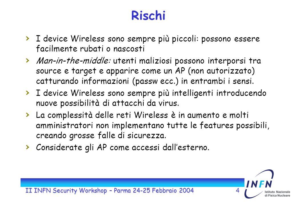 II INFN Security Workshop – Parma 24-25 Febbraio 20044 Rischi I device Wireless sono sempre più piccoli: possono essere facilmente rubati o nascosti Man-in-the-middle: utenti maliziosi possono interporsi tra source e target e apparire come un AP (non autorizzato) catturando informazioni (passw ecc.) in entrambi i sensi.