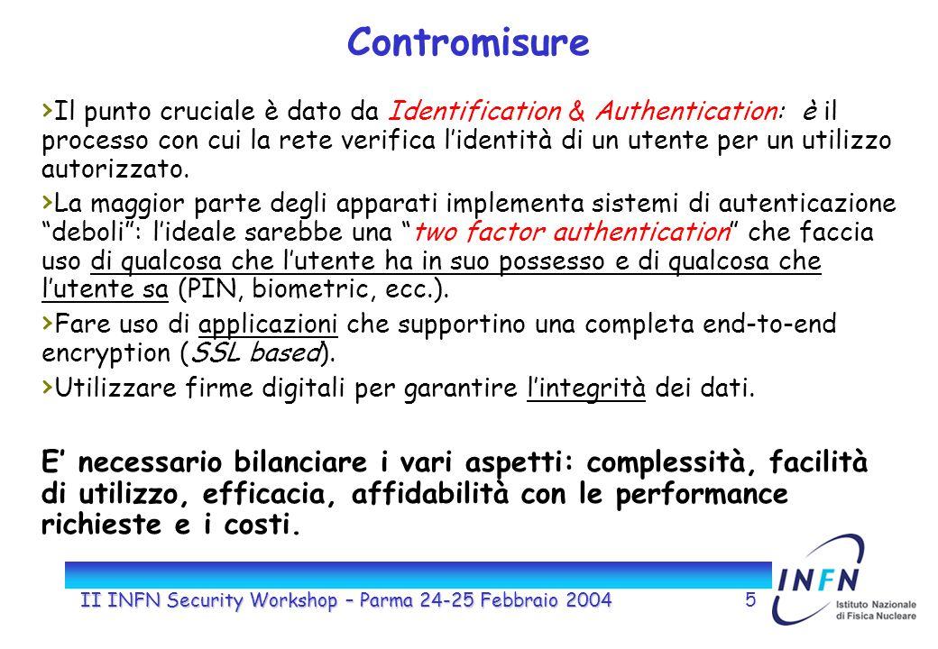 II INFN Security Workshop – Parma 24-25 Febbraio 20045 Contromisure Il punto cruciale è dato da Identification & Authentication: è il processo con cui la rete verifica lidentità di un utente per un utilizzo autorizzato.