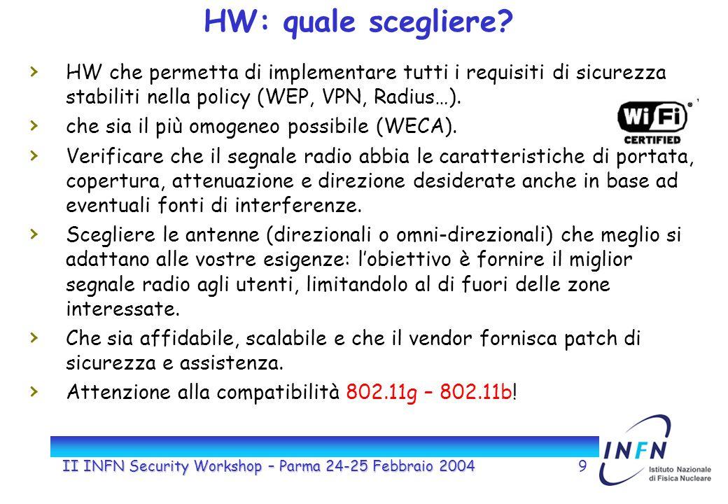 II INFN Security Workshop – Parma 24-25 Febbraio 20049 HW: quale scegliere.