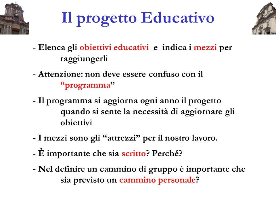 Il progetto Educativo - Elenca gli obiettivi educativi e indica i mezzi per raggiungerli - Attenzione: non deve essere confuso con il programma - Il p