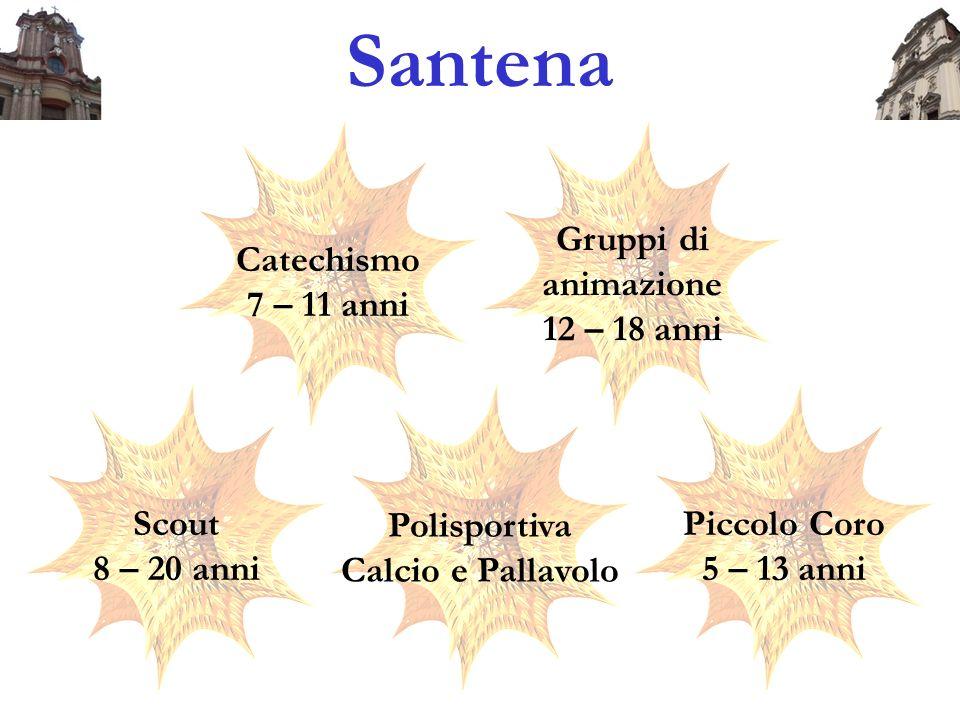 Santena Catechismo 7 – 11 anni Gruppi di animazione 12 – 18 anni Scout 8 – 20 anni Polisportiva Calcio e Pallavolo Piccolo Coro 5 – 13 anni
