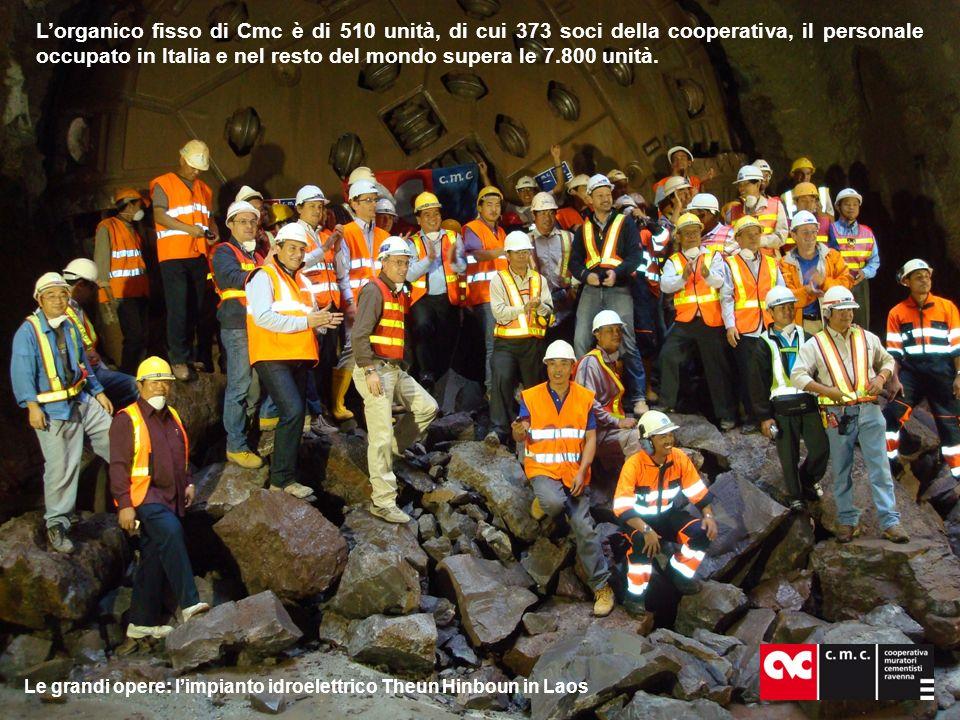 Lorganico fisso di Cmc è di 510 unità, di cui 373 soci della cooperativa, il personale occupato in Italia e nel resto del mondo supera le 7.800 unità.