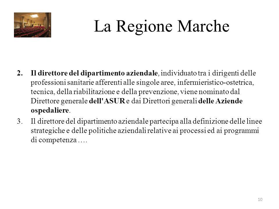 La Regione Marche 2.Il direttore del dipartimento aziendale, individuato tra i dirigenti delle professioni sanitarie afferenti alle singole aree, infe