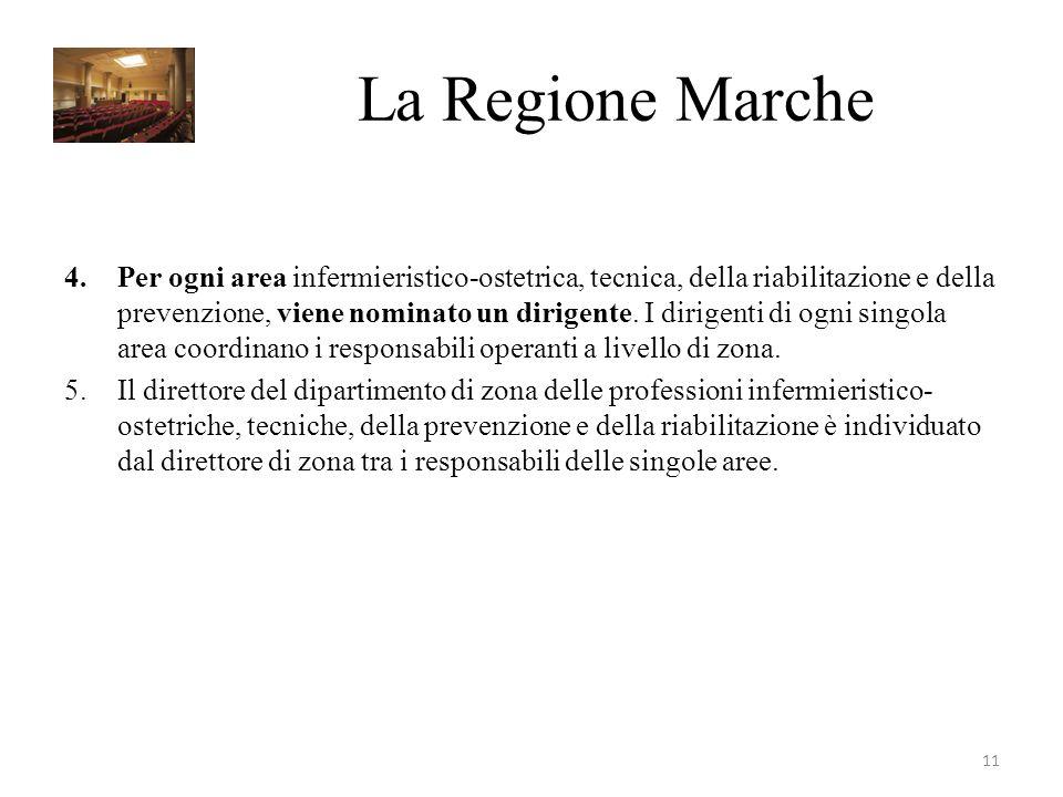 La Regione Marche 4.Per ogni area infermieristico-ostetrica, tecnica, della riabilitazione e della prevenzione, viene nominato un dirigente.