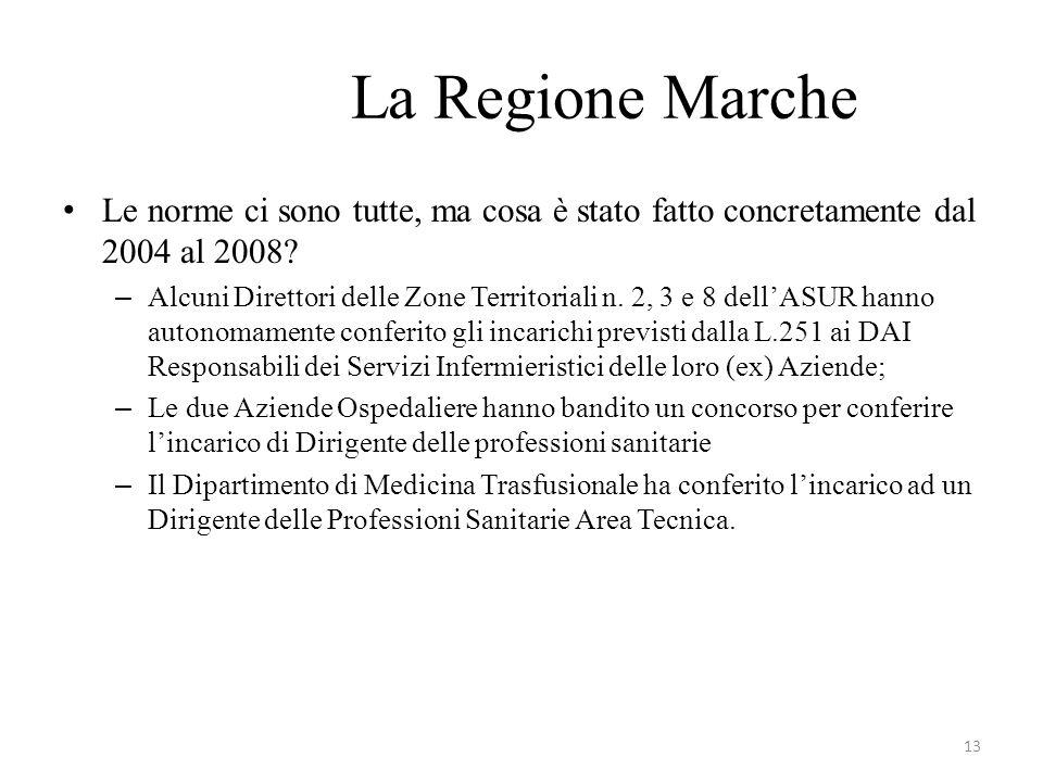 La Regione Marche Le norme ci sono tutte, ma cosa è stato fatto concretamente dal 2004 al 2008.