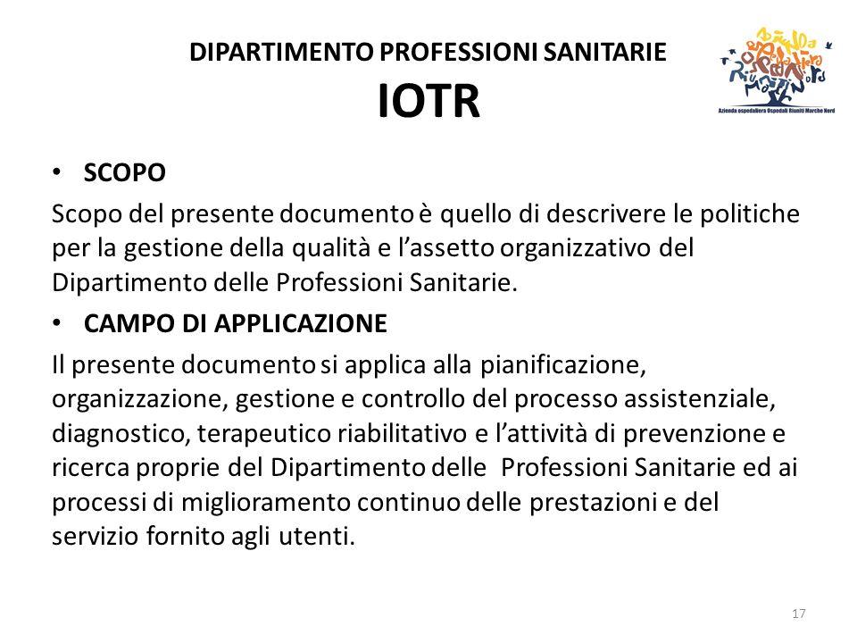 DIPARTIMENTO PROFESSIONI SANITARIE IOTR SCOPO Scopo del presente documento è quello di descrivere le politiche per la gestione della qualità e lassetto organizzativo del Dipartimento delle Professioni Sanitarie.