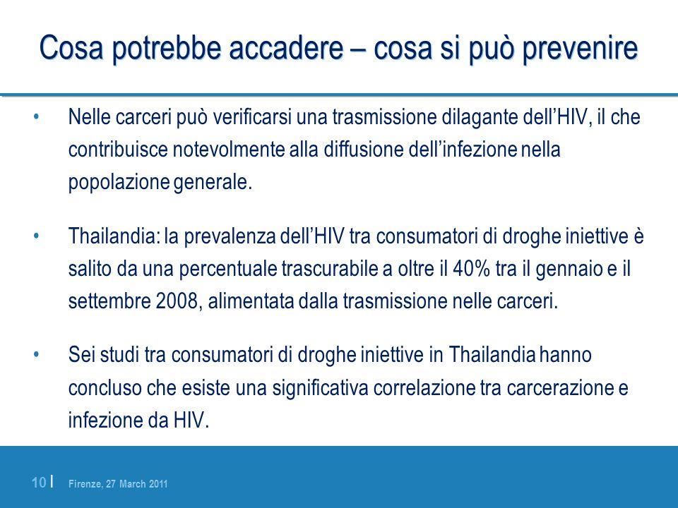 Firenze, 27 March 2011 10 | Cosa potrebbe accadere – cosa si può prevenire Nelle carceri può verificarsi una trasmissione dilagante dellHIV, il che co