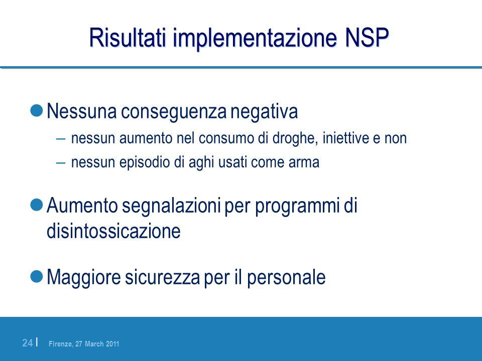 Firenze, 27 March 2011 24 | Risultati implementazione NSP Nessuna conseguenza negativa – nessun aumento nel consumo di droghe, iniettive e non – nessu