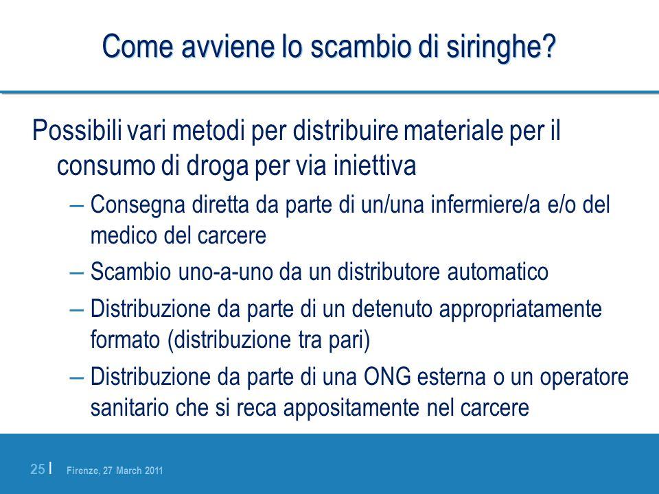 Firenze, 27 March 2011 25 | Come avviene lo scambio di siringhe? Possibili vari metodi per distribuire materiale per il consumo di droga per via iniet