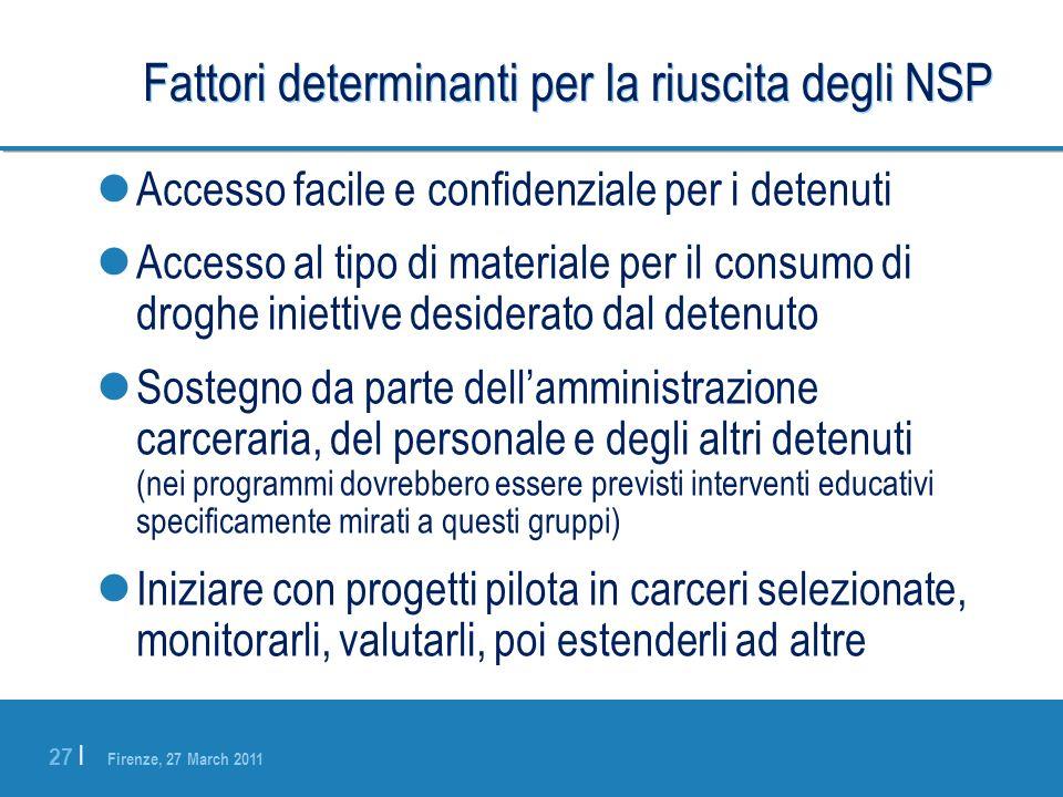 Firenze, 27 March 2011 27 | Fattori determinanti per la riuscita degli NSP Accesso facile e confidenziale per i detenuti Accesso al tipo di materiale