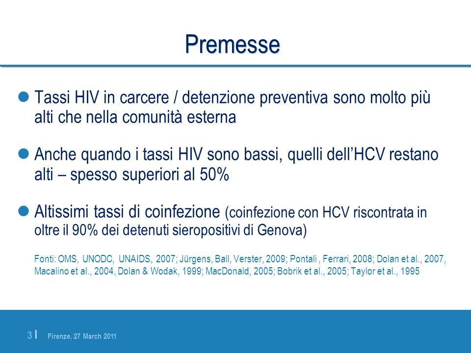Firenze, 27 March 2011 3 |3 | Premesse Tassi HIV in carcere / detenzione preventiva sono molto più alti che nella comunità esterna Anche quando i tass