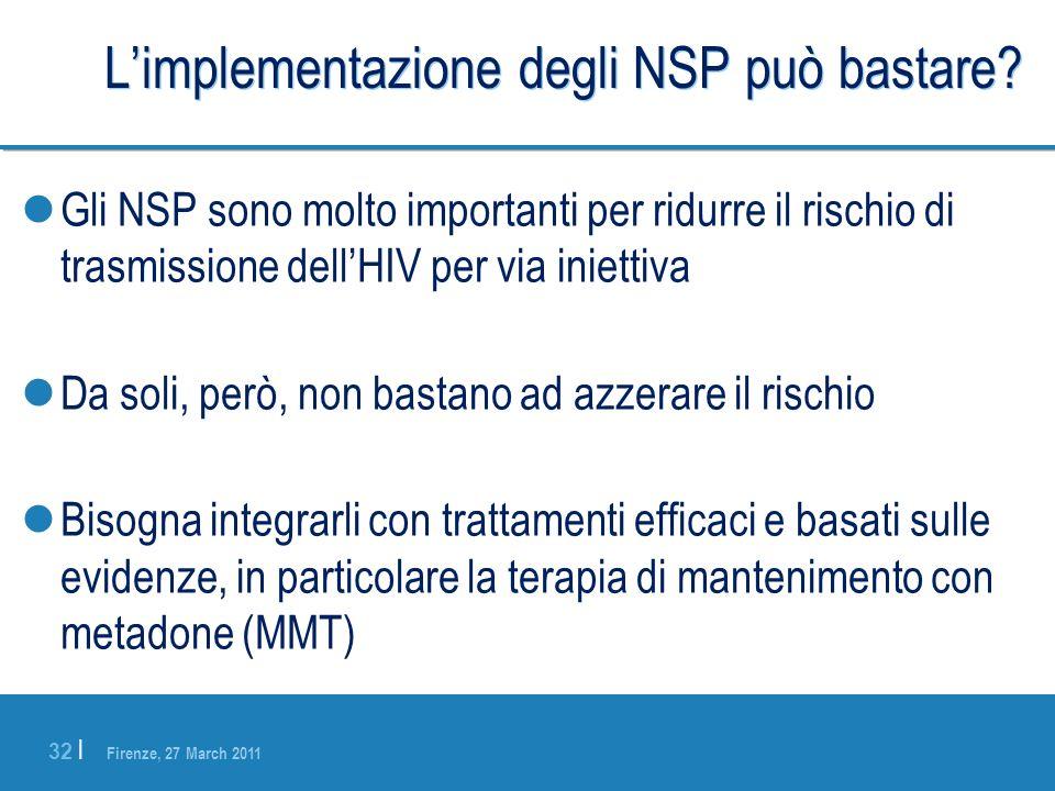 Firenze, 27 March 2011 32 | Limplementazione degli NSP può bastare? Gli NSP sono molto importanti per ridurre il rischio di trasmissione dellHIV per v