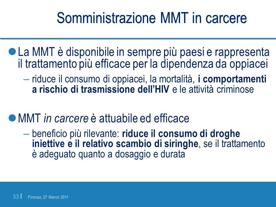 Firenze, 27 March 2011 33 | Somministrazione MMT in carcere La MMT è disponibile in sempre più paesi e rappresenta il trattamento più efficace per la
