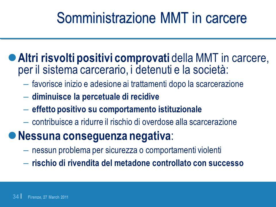 Firenze, 27 March 2011 34 | Somministrazione MMT in carcere Altri risvolti positivi comprovati della MMT in carcere, per il sistema carcerario, i dete