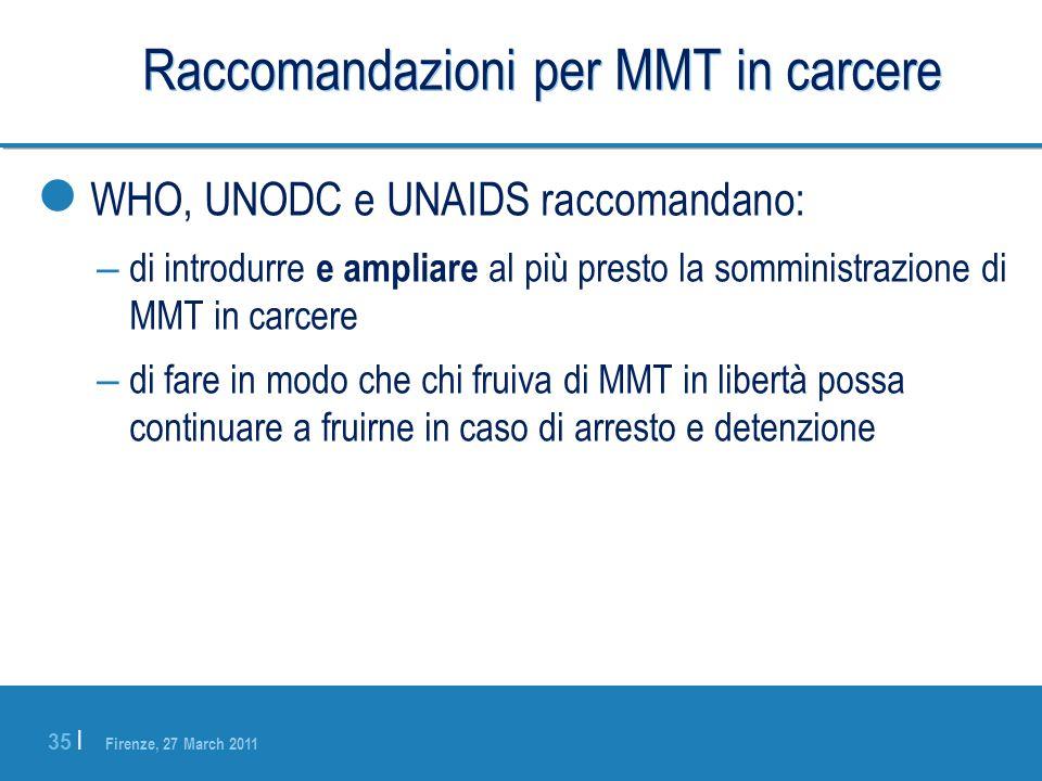 Firenze, 27 March 2011 35 | Raccomandazioni per MMT in carcere WHO, UNODC e UNAIDS raccomandano: – di introdurre e ampliare al più presto la somminist
