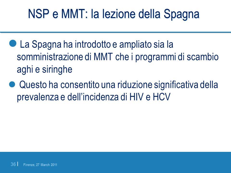 Firenze, 27 March 2011 36 | NSP e MMT: la lezione della Spagna La Spagna ha introdotto e ampliato sia la somministrazione di MMT che i programmi di sc
