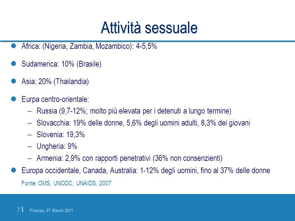 Firenze, 27 March 2011 7 |7 | Attività sessuale Africa: (Nigeria, Zambia, Mozambico): 4-5,5% Sudamerica: 10% (Brasile) Asia: 20% (Thailandia) Eurpa ce