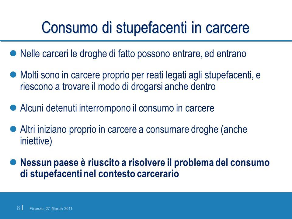 Firenze, 27 March 2011 8 |8 | Consumo di stupefacenti in carcere Nelle carceri le droghe di fatto possono entrare, ed entrano Molti sono in carcere pr