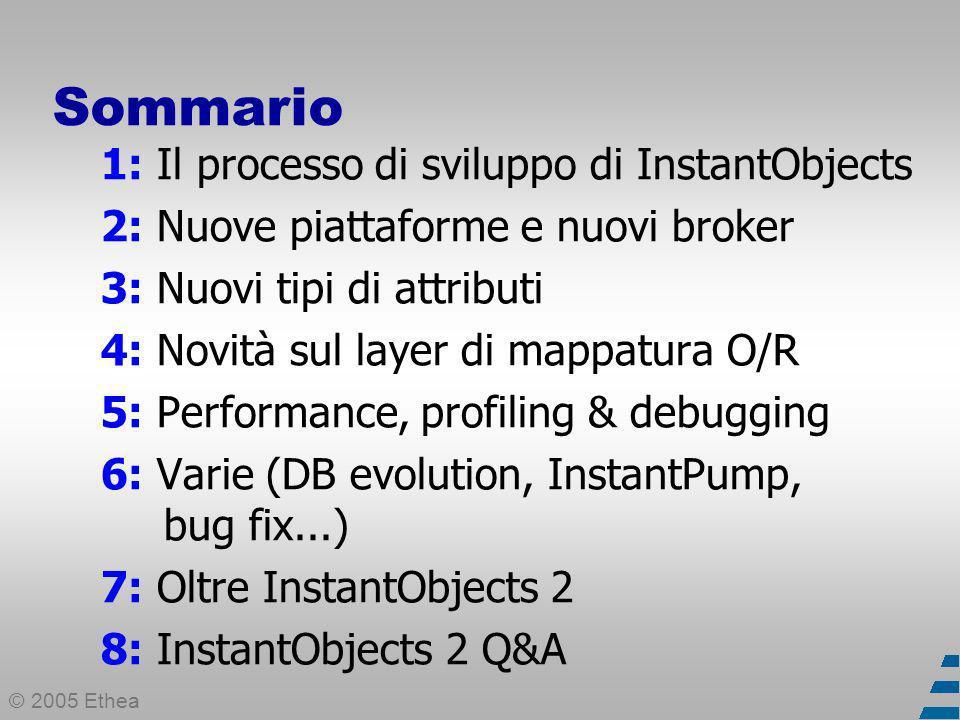 © 2005 Ethea Sommario 1: Il processo di sviluppo di InstantObjects 2: Nuove piattaforme e nuovi broker 3: Nuovi tipi di attributi 4: Novità sul layer di mappatura O/R 5: Performance, profiling & debugging 6: Varie (DB evolution, InstantPump, bug fix...) 7: Oltre InstantObjects 2 8: InstantObjects 2 Q&A