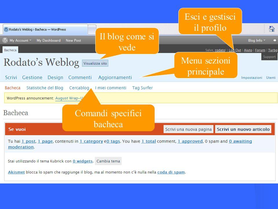 Il blog come si vede Esci e gestisci il profilo Menu sezioni principale Comandi specifici bacheca