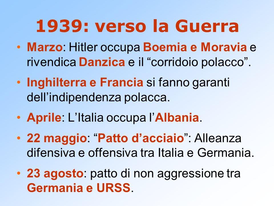 1939: verso la Guerra Marzo: Hitler occupa Boemia e Moravia e rivendica Danzica e il corridoio polacco. Inghilterra e Francia si fanno garanti dellind
