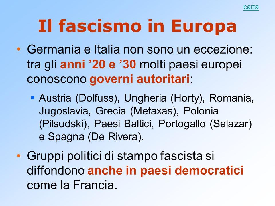 Il fascismo in Europa Germania e Italia non sono un eccezione: tra gli anni 20 e 30 molti paesi europei conoscono governi autoritari: Austria (Dolfuss
