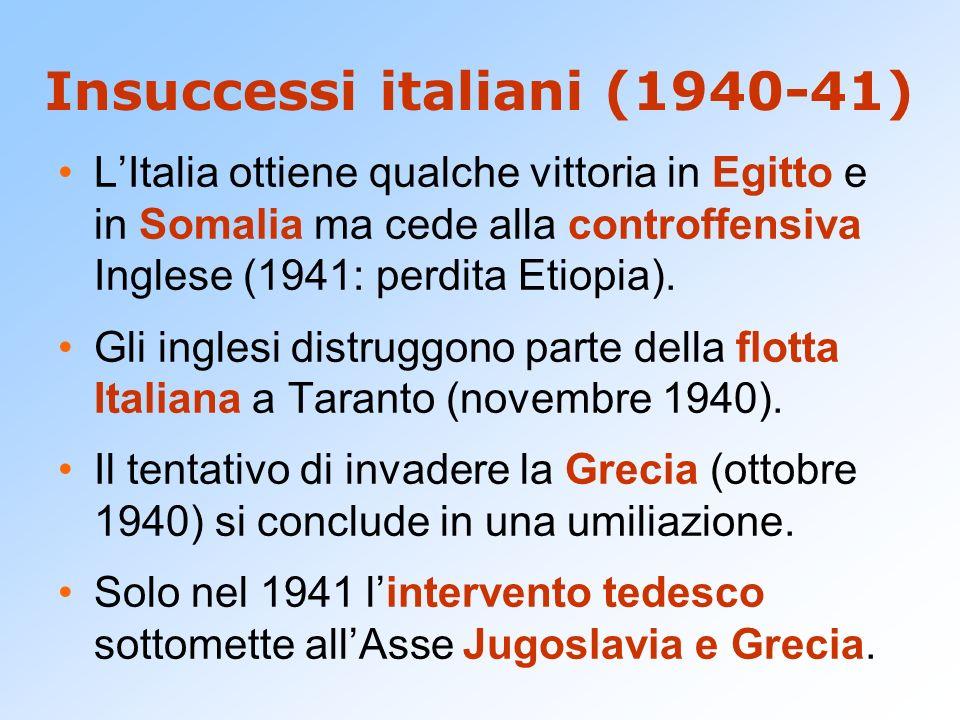 Insuccessi italiani (1940-41) LItalia ottiene qualche vittoria in Egitto e in Somalia ma cede alla controffensiva Inglese (1941: perdita Etiopia). Gli