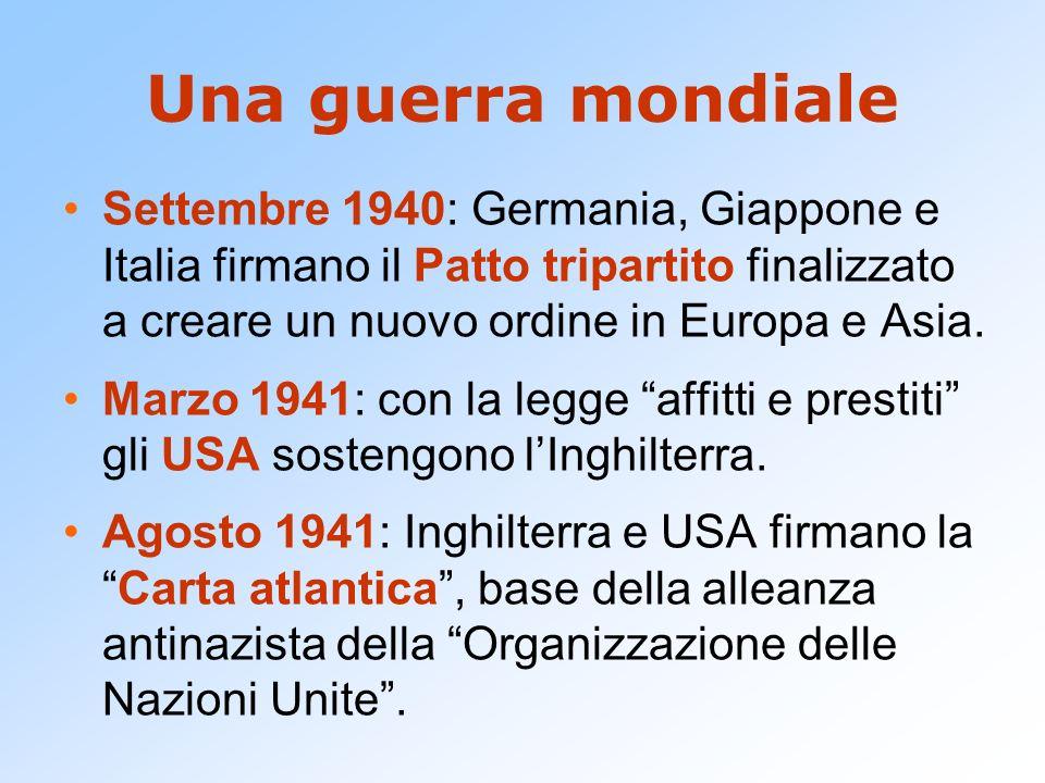 Una guerra mondiale Settembre 1940: Germania, Giappone e Italia firmano il Patto tripartito finalizzato a creare un nuovo ordine in Europa e Asia. Mar