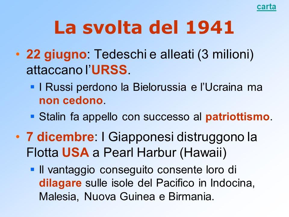 La svolta del 1941 22 giugno: Tedeschi e alleati (3 milioni) attaccano lURSS. I Russi perdono la Bielorussia e lUcraina ma non cedono. Stalin fa appel