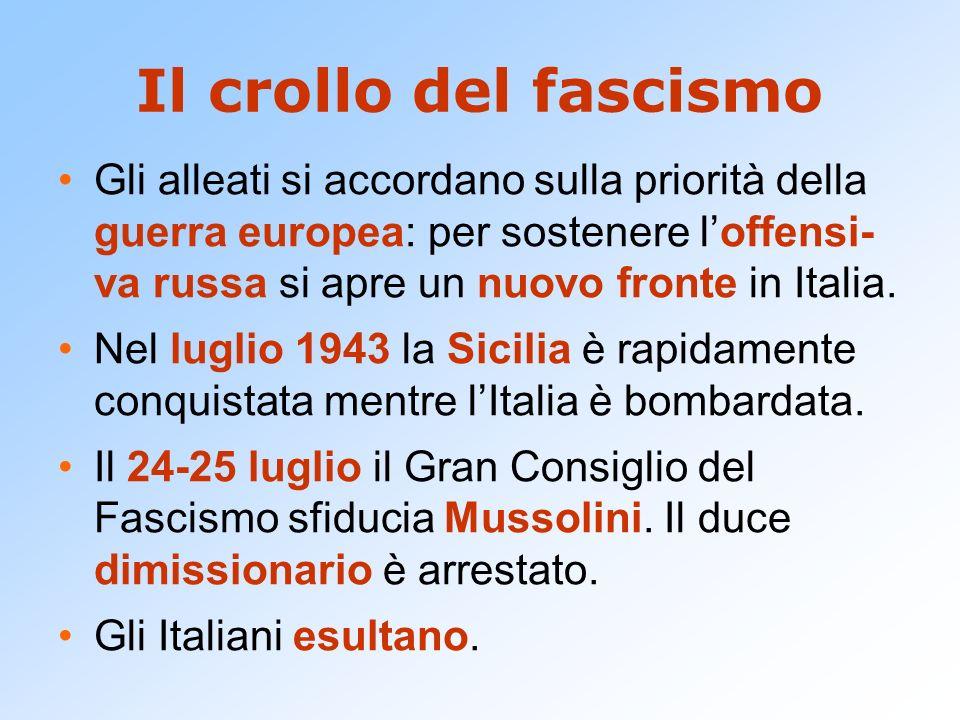 Il crollo del fascismo Gli alleati si accordano sulla priorità della guerra europea: per sostenere loffensi- va russa si apre un nuovo fronte in Itali