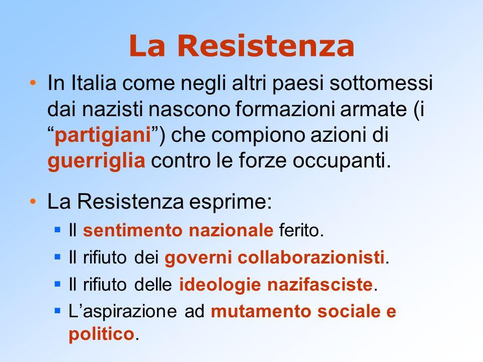 La Resistenza In Italia come negli altri paesi sottomessi dai nazisti nascono formazioni armate (ipartigiani) che compiono azioni di guerriglia contro