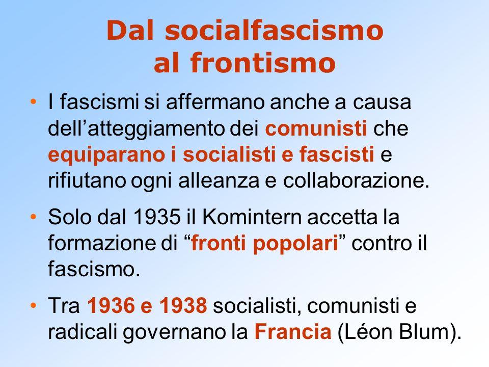 Dal socialfascismo al frontismo I fascismi si affermano anche a causa dellatteggiamento dei comunisti che equiparano i socialisti e fascisti e rifiuta