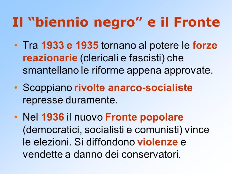 Il biennio negro e il Fronte Tra 1933 e 1935 tornano al potere le forze reazionarie (clericali e fascisti) che smantellano le riforme appena approvate