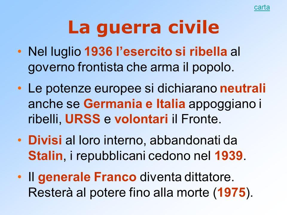 La guerra civile Nel luglio 1936 lesercito si ribella al governo frontista che arma il popolo. Le potenze europee si dichiarano neutrali anche se Germ