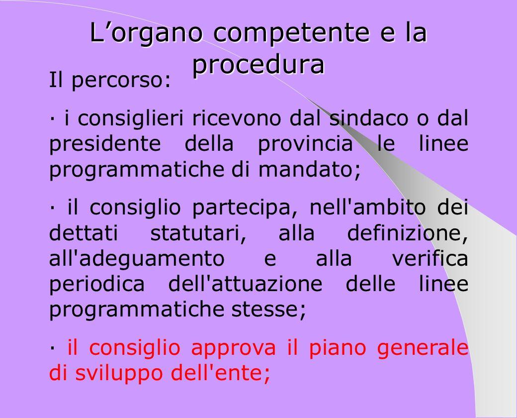 Lorgano competente e la procedura Il percorso: · i consiglieri ricevono dal sindaco o dal presidente della provincia le linee programmatiche di mandat