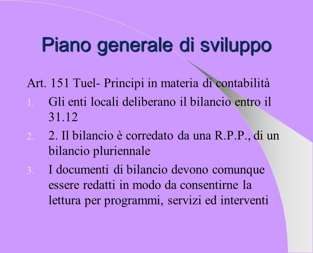 Piano generale di sviluppo: fonte normativa Art.13 c.
